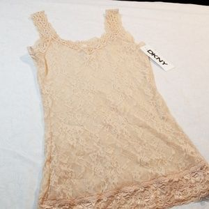 NWT DKNY size small nude lace camisole